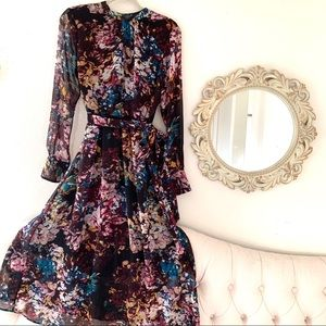 NWT Who What Wear Floral Long Sleeves Maxi Dress